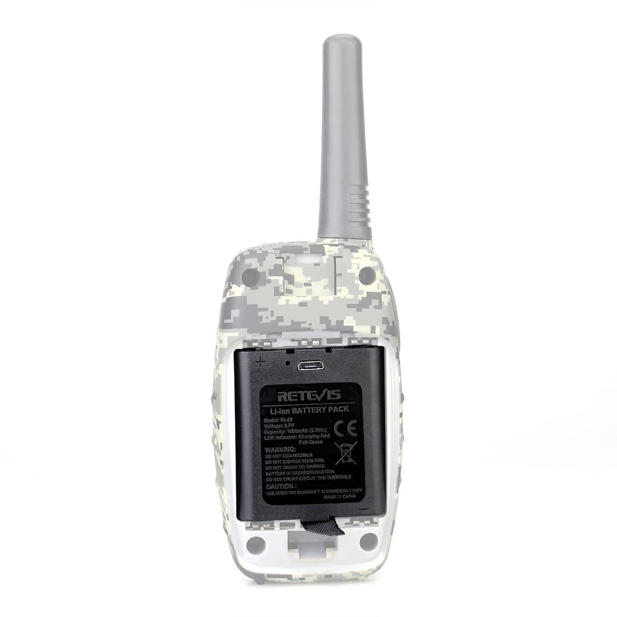Black,2 Packs Retevis BL45 Rechargeable Battery 1000mAh USB Charging LED Indicator Li-ion Battery for Retevis RT628 RT45 Walkie Talkies